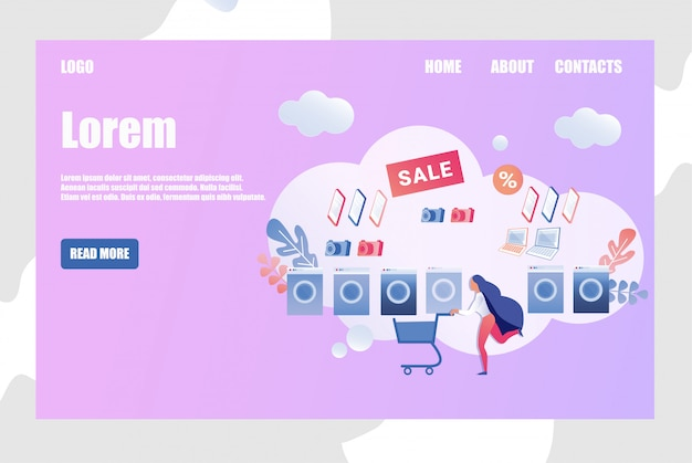 Design de modelo de site de loja de eletrônicos on-line