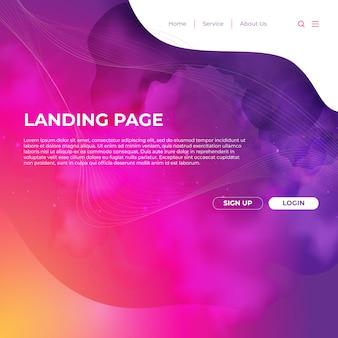 Design de modelo de site e linha de página de destino