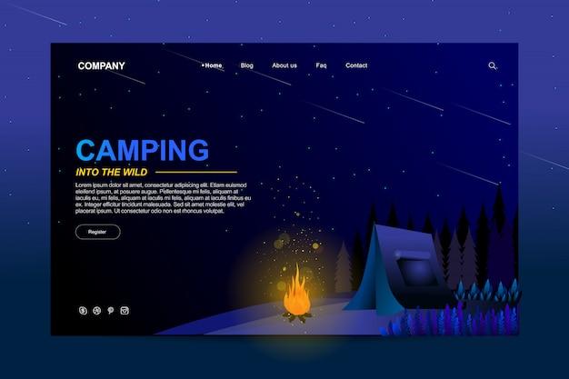 Design de modelo de site no conceito de acampamento de verão