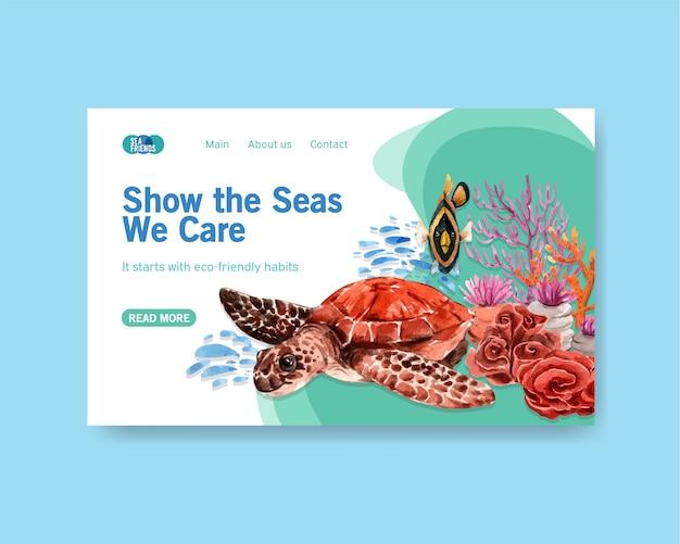 Design de modelo de site para o conceito do dia mundial dos oceanos com animais marinhos, tartarugas, peixes e coral aquarela vector