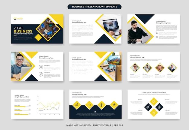 Design de modelo de slide de apresentação em powerpoint de negócios ou apresentação de perfil da empresa