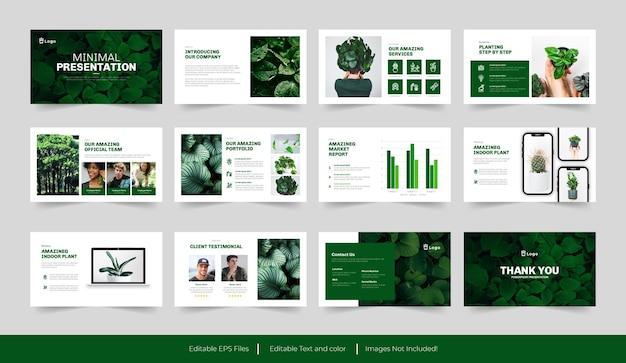 Design de modelo de slide verde mínimo