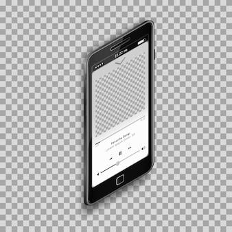 Design de modelo de smartphone de player de música para aplicativo móvel