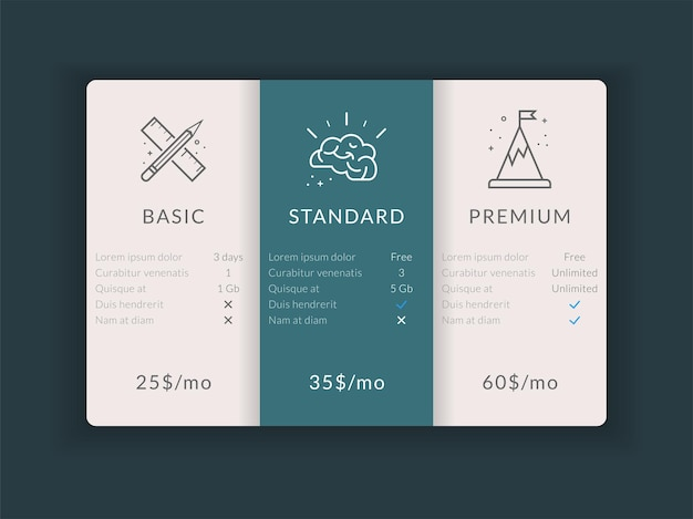 Design de modelo de tabela de comparação de preços em vetor para negócios ilustração de planos de preços em vetor