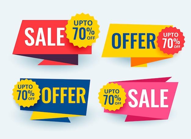 Design de modelo de tags de banners promocionais e de venda geométrica