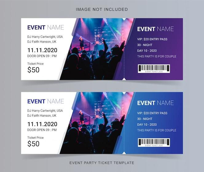 design de modelo de ticket de evento
