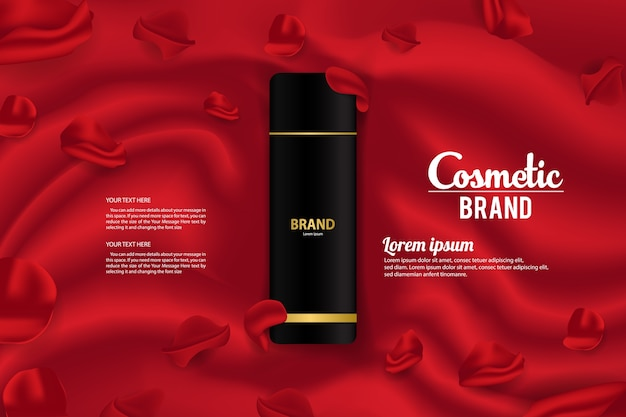 Design de modelo de vetor de embalagens de produtos cosméticos banner de embalagem