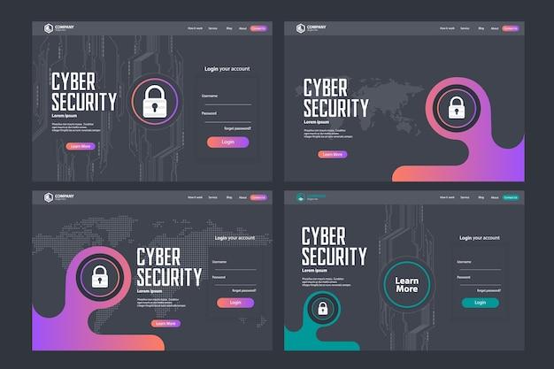 Design de modelo de vetor de página de aterrissagem de segurança cibernética
