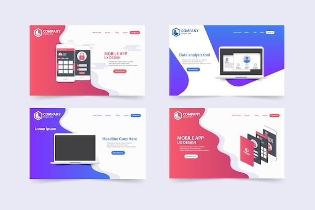 Design de modelo de vetor de páginas de aterrissagem na moda website