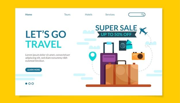 Design de modelo de web de venda de viagens