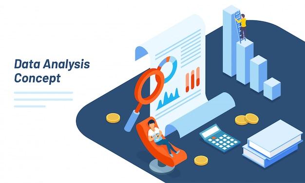 Design de modelo de web responsivo de análise de dados.