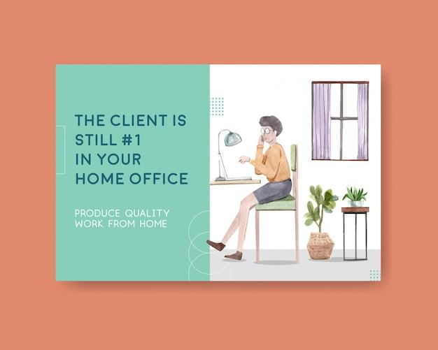 Design de modelo do facebook com as pessoas estão trabalhando em casa. ilustração em aquarela de conceito de escritório em casa