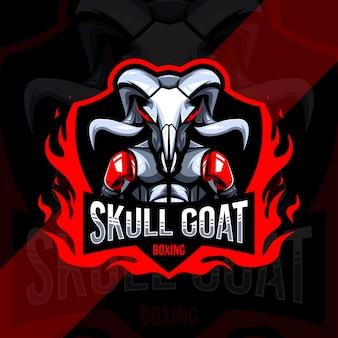 Design de modelo do logotipo do mascote do boxe de cabra crânio e logotipo