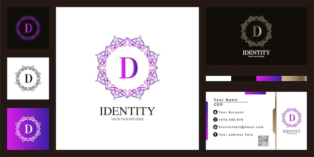 Design de modelo do logotipo do quadro da flor do ornamento de luxo letra d com cartão de visita.