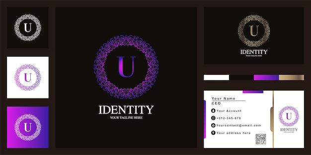 Design de modelo do logotipo do quadro da flor do ornamento de luxo letra u com cartão de visita.