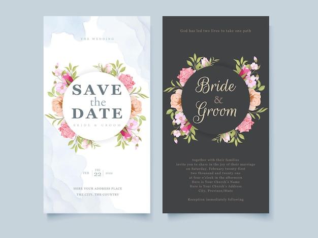 Design de modelo floral de convite de casamento para redes sociais