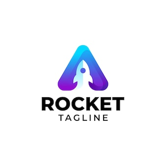 Design de modelo gradiente colorido com logotipo de foguete