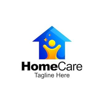 Design de modelo gradiente de logotipo para cuidados domiciliares