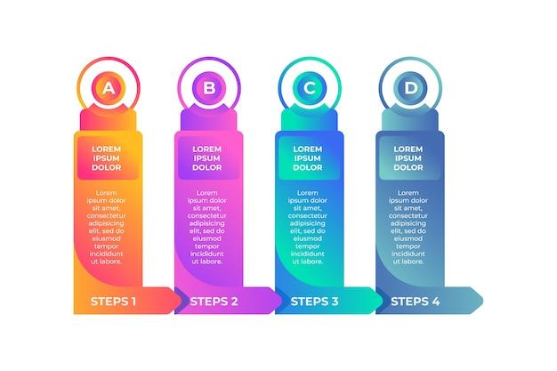 Design de modelo infográfico gradiente com opções e etapas