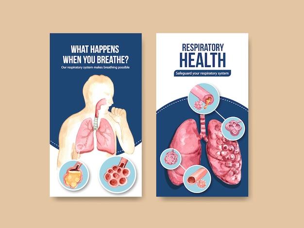 Design de modelo instagram respiratório com anatomia humana do pulmão e cuidados saudáveis