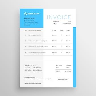 Design de modelo mínimo de fatura azul de negócios