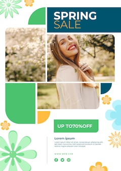 Design de modelo promocional de primavera venda flyer