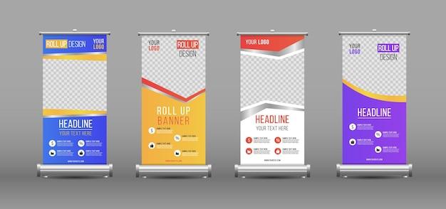 Design de modelo vertical de banner de enrolar negócios