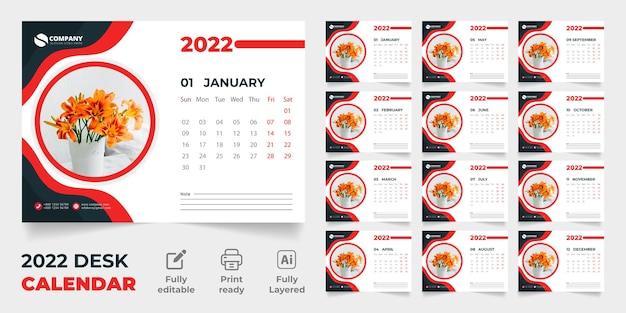 Design de modelo vetorial premium do calendário de mesa 2022