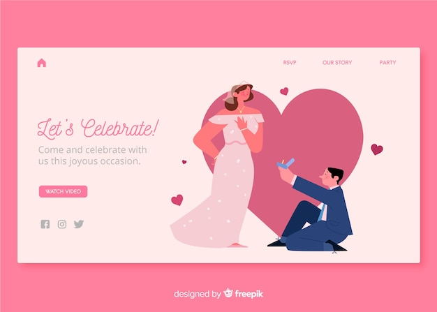 Design de modelo web para página inicial de casamento