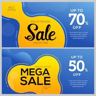Design de modelos de banner de venda. etiquetas de ofertas especiais