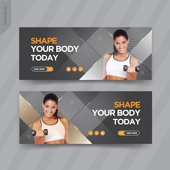 Design de modelos de capa de banner de fitness