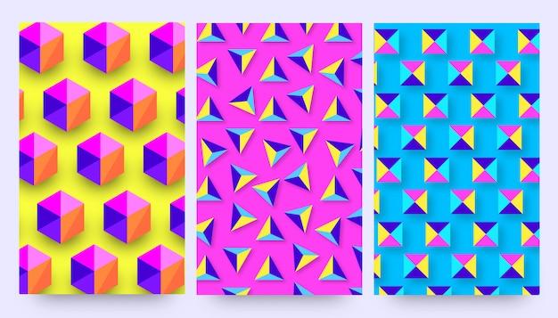 Design de modelos de fundo de padrão 3d formas dinâmicas