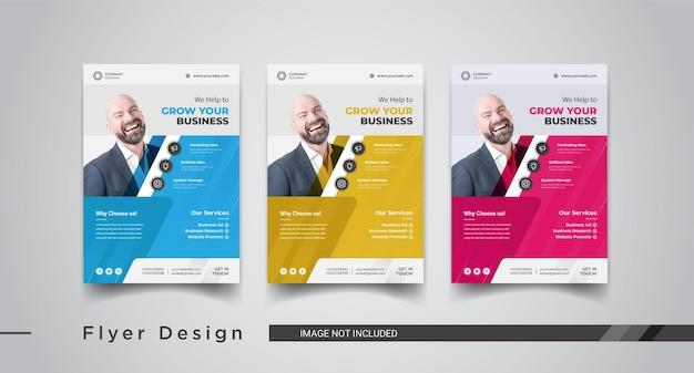 Design de modelos de panfletos de marketing de negócios corporativos