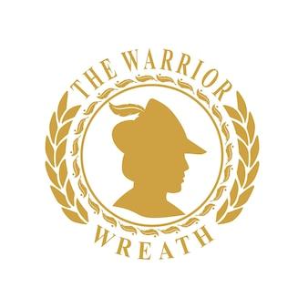 Design de moeda vintage de grinalda com logotipo de guerreiro