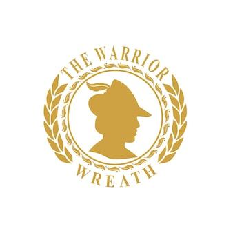 Design de moeda vintage de grinalda do logotipo do guerreiro