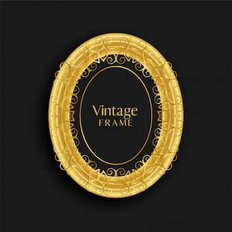 Design de moldura antiga de ouro vintage de luxo