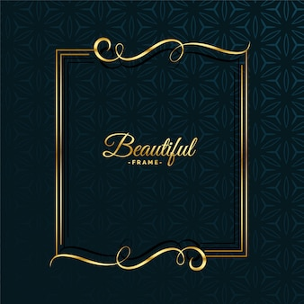 Design de moldura atraente floral dourado
