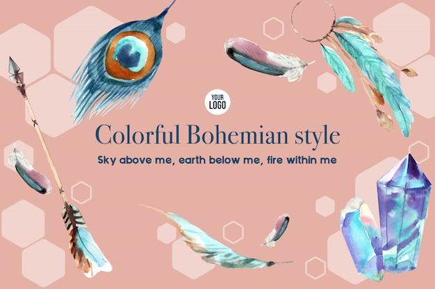 Design de moldura boêmio com pena, cristal, ilustração em aquarela de seta.