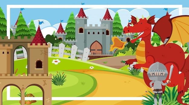 Design de moldura com cavaleiro e dragão vermelho no castelo