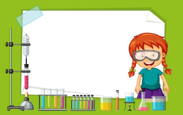 Design de moldura com garota fazendo experimento
