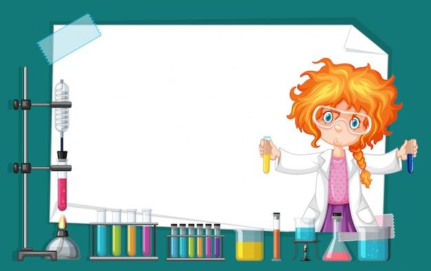 Design de moldura com garota trabalhando no laboratório de ciências