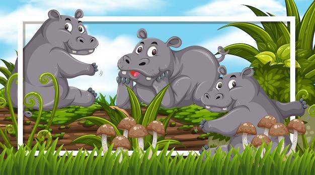 Design de moldura com hipopótamos fofos no log