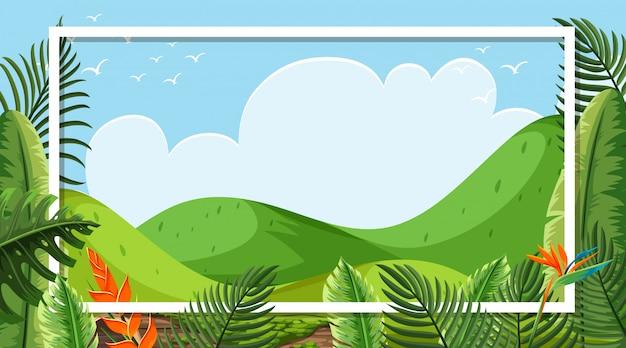 Design de moldura com montanhas verdes e céu azul em fundo