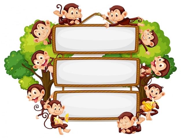 Design de moldura com muitos macacos na fronteira