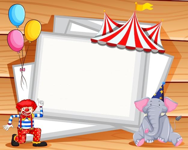 Design de moldura com palhaço e elefante com copyspace