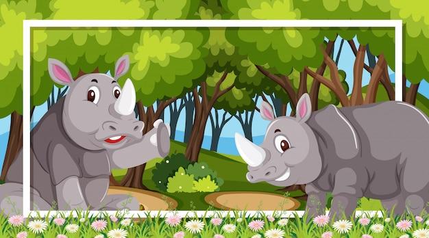 Design de moldura com rinocerontes na floresta