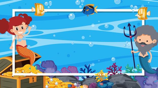 Design de moldura com sereia e peixes nadando no mar