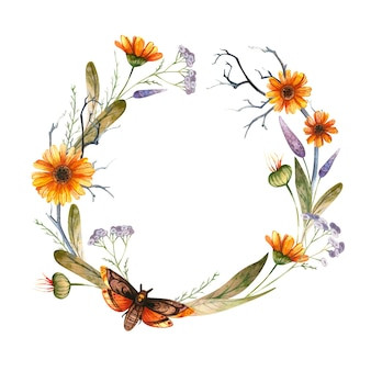 Design de moldura com tema floral