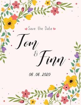 Design de moldura de cartão de convite de festa de aniversário colorida apresentação floral ilustração vetorial