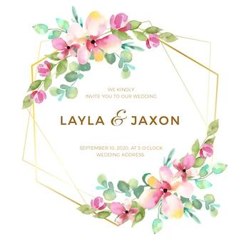Design de moldura de casamento floral elegante